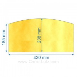 verre réfractaire Vitrocéramique 430x238x185 arrondi