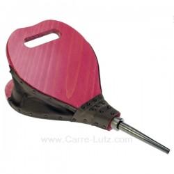 Soufflet bois forme poire en bois cérusé couleur rose fuchsia, reference 7064074A