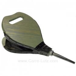 Soufflet bois forme poire en bois cérusé couleur gris bleuté, reference 7064074C