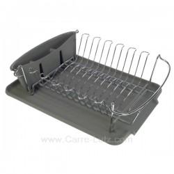 Egouttoir à vaisselle avec plateau et gobelet à couverts en plastique couleur gris, reference 993JD005