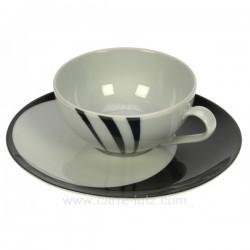 Tasse a the Luna Swing noir Porcelaine Bruno Evrard CL10010310, reference CL10010310