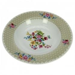 Coffret 6 assiettes creuse porcelaine décorée décor Jardin secret créme, reference CL10020654