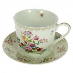 Coffret 4 tasses à déjeuner porcelaine décorée décor Jardin secret créme, reference CL10020657
