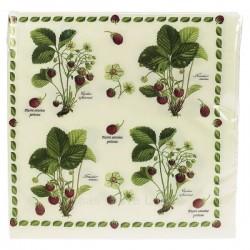 Paquet de 20 serviettes dimensions 33 x 33 cm décor fraisiers, reference CL10022017