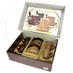 Coffret 4 tasses cafe+plateau