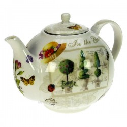 Coffret théière décor jardin en fine porcelaine bone china, reference CL10030313