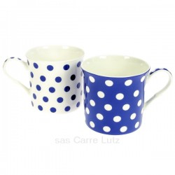Coffret de 2 mugs à pois bleus en porcelaine fine bone china, reference CL10030330