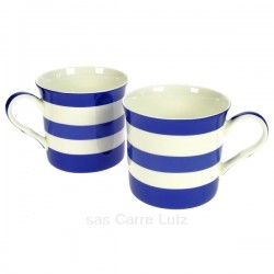 Coffret de 2 mugs à rayures bleues en porcelaine fine bone china, reference carre-lutz CL10030334