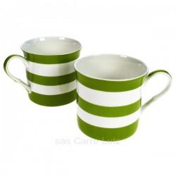 Coffret de 2 mugs à rayures vertes en porcelaine fine bone china, reference carre-lutz CL10030335