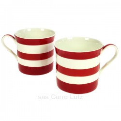 Coffret de 2 mugs à rayures rouges en porcelaine fine bone china, reference carre-lutz CL10030337