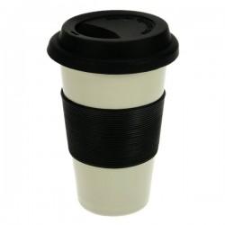 Mug isotherm gris en porcelaine double paroi couleur grise insert silicone noir, reference CL10030351