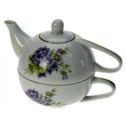 Théière égoiste décor violettes Porcelaine lhonneur, reference CL10030389