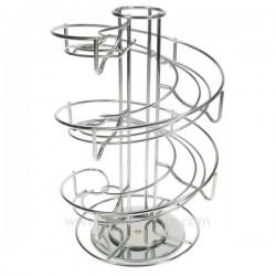Porte capsules à café rotatif multiformats en métal chromé sur plateau tournant, reference CL10032005