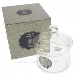 Bonbonnière en verre en verre décoré médaillon chat Charlie, reference CL12001010