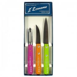 Coffret de 3 couteaux éplucheurs L'ECONOME, reference CL14006076
