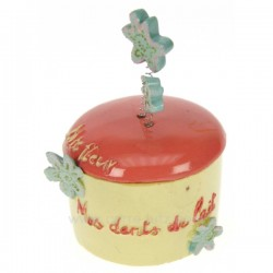Boite à dent de lait jaune couvercle rose, reference CL14600010