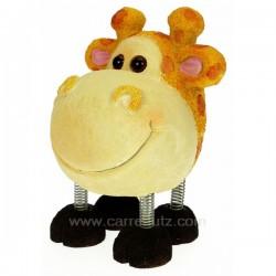 Tirelire girafe en résine monté sur 4 pattes ressort, reference CL14600063