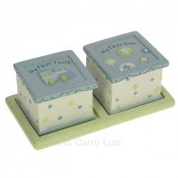 Ensemble de 2 boites à dent et mèchede cheveux bleu en résine décorée train et étoiles, reference CL14600088