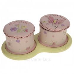 Ensemble de 2 boites à dent et mèche de cheveux rose en résine décorée fleurs et papillon, reference CL14600089