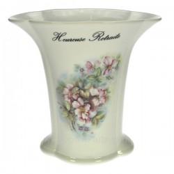 Vase retraite décor fleurs de rosier sauvage porcelaine lhonneur, reference CL14601002