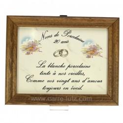 Cadre Noces de Porcelaine 20 ans en faience décor panier fleuri porcelaine lhoneur, reference CL14601008