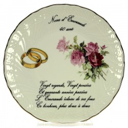 Assiette 40 ans Mary Rose en porcelaine festonnée et filet platine, reference CL14601016