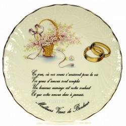 Assiette Meilleurs voeux bonheur décor panier fleuri en porcelaine festonnée filet platine, reference CL14601026