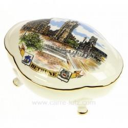 Bonbonniere ovale décor ville de Béthune porcelaine Lhonneur, reference CL14602000