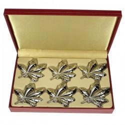 6 portes couteaux ou porte nom en métal argenté décor feuille de marronnier , reference CL15000019