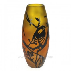 Vase décor paysage irisé orange décor noir, reference CL18000040