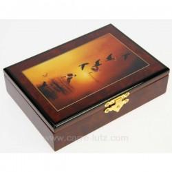Coffret en bois laqué oiseaux contenant 2 jeux de cartes, reference CL20000006