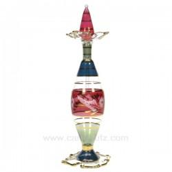Flacon parfum Egyptien en verre à collerette couleur rouge bleu vert , reference CL21040089