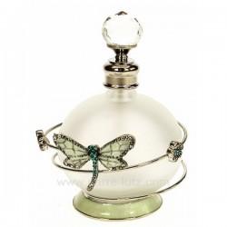 Flacon de parfum en verre dépoli avec bouchon à facettes décor en métal petite fleur et libellule turquoiseavec strass et éma...