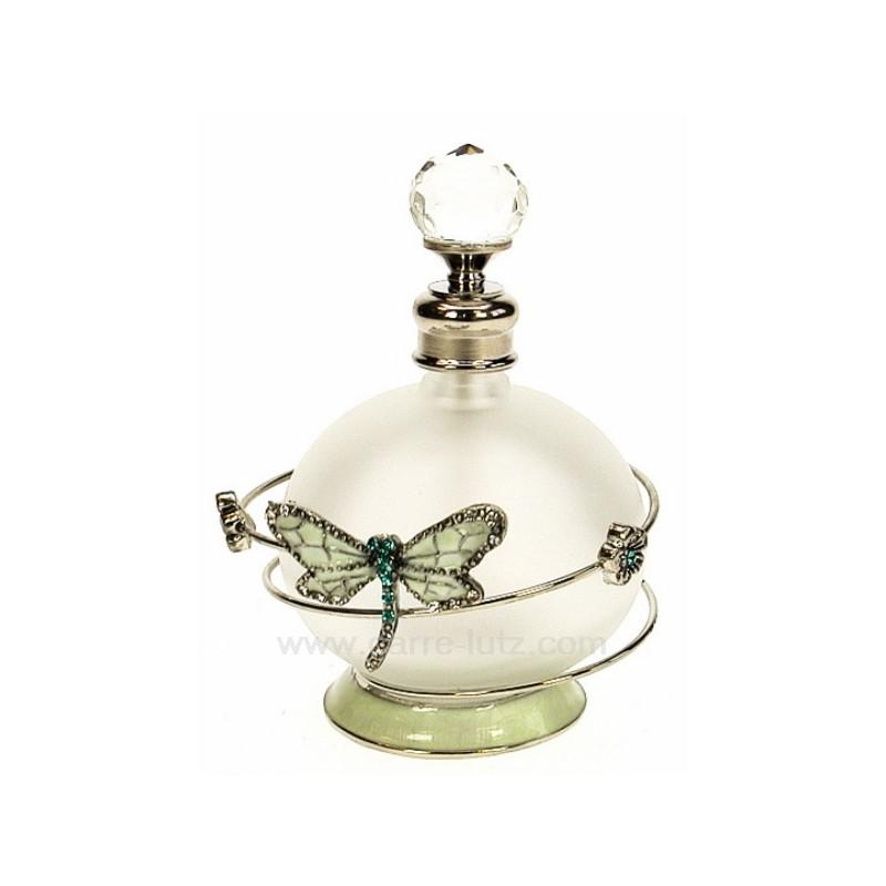 flacon de parfum en verre d poli avec bouchon facettes d cor en m. Black Bedroom Furniture Sets. Home Design Ideas