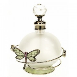 Flacon de parfum en verre dépoli avec bouchon à facettes décor en métal petite fleur et libellule roseavec strass et émail, r...