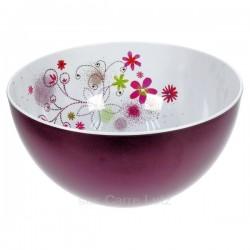 Saladier floral rond prune en mélamine, reference CL22000052