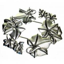 Dessous de plat feuille extensible en métal argenté, reference CL28000048