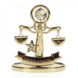 Signe astral Balance en métal doré et cristaux de Swarovski, reference CL40002006