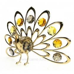 Paon faisant la roue en métal doré et cristaux de Swarovski, reference CL40002013