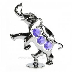 Elephant en métal argenté et cristaux de Swarovski, reference CL40002022
