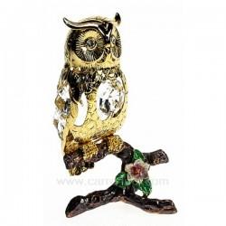 Hibou sur branche en métal or et cristaux de Swarovski, reference CL40002033