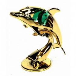 Dauphin en métal doré à l or fin et cristaux de Swarovski Crystocraft , reference CL40002035