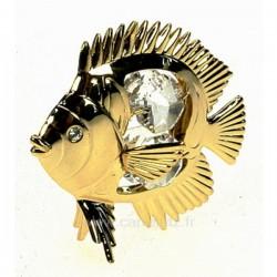 Poisson tropical en métal doré à l or fin et cristaux de Swarovski Crystocraft , reference CL40002038