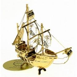 Bateau Santa Maria en métal doré à l or fin et cristaux de Swarovski Crystocraft , reference CL40002039