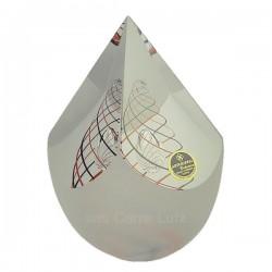 Oeuf coupé cristal de bohéme Artcristal spirale noir et orange, reference carre-lutz CL40004006