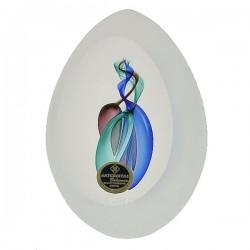 Oeuf sablé cristal de bohéme Artcristal bleu mauve vert, reference CL40004009