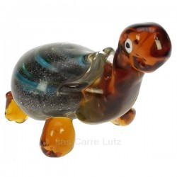 Tortue en verre couleur ambre reflet turquoise The Juliana Collection, reference CL40005002