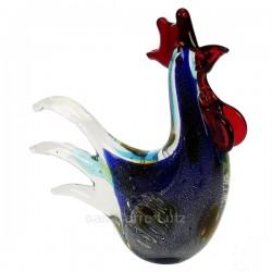Coq en verre couleur bleu mouchetée de blanc crête et bec rouge The Juliana Collection, reference CL40005004