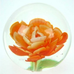 Sulfure décor décor fleur orange diamètre 7 cm, reference CL41000018