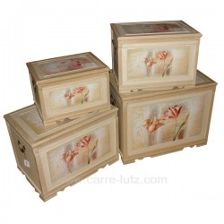 Serie de 4 coffres bois fleurs Cadeaux - Décoration CL45000110, reference CL45000110